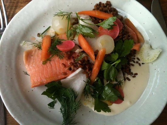 Legana, Australia: Ocean trout with crispy crunchy veg and cream reduction