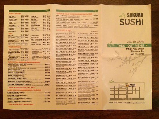 Take out menu picture of sakura sushi restaurant for Take out menu