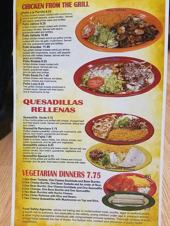 Tequila Mexican Restaurant Menu Richmond Mo