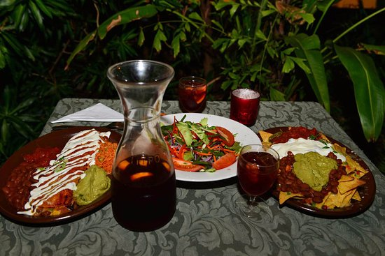 Man Friday: Vegetarian bean enchilada and bean nachos and homemade jugs of sangria are the best!