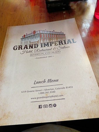 The Grand Restaurant and Saloon : Menu