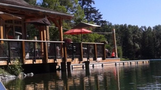 Seasons of Bowness Park cafe -- facing water