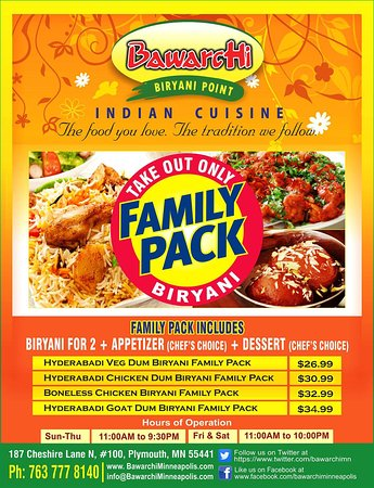 eba1705dcf76 Bawarchi Indian Cuisine: Dear Customers All of your family can now enjoy  Bawarchi Biryani's with