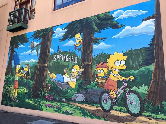 Picture of the offical simpsons mural for A perfect day mural