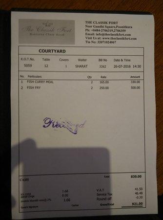 Tripunithura, India: lunch bill