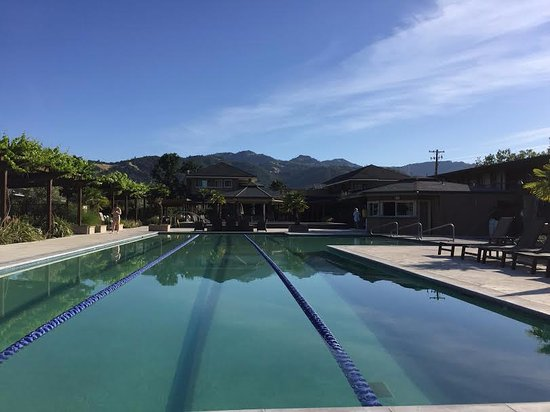Calistoga Spa Hot Springs: 8 am is a perfect time to swim!