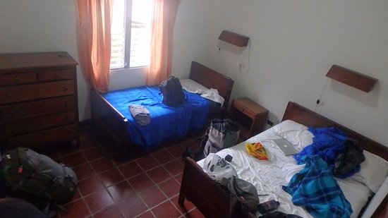 Pension Marilos: Large rooms with a garden view and a chest of draws to unpack into which was nice!