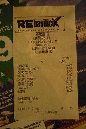 REbasilico Cernaia: счет