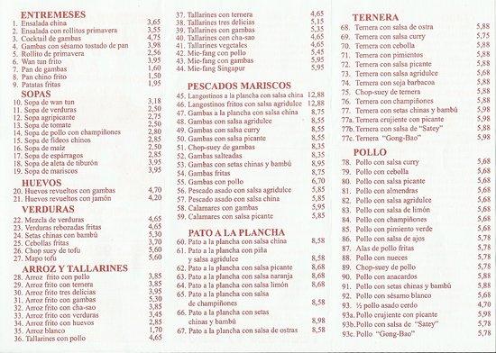 Cafe Del Sol Bar Menu