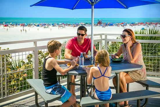Enjoy beachfront dining at the raised concessions at Siesta Beach