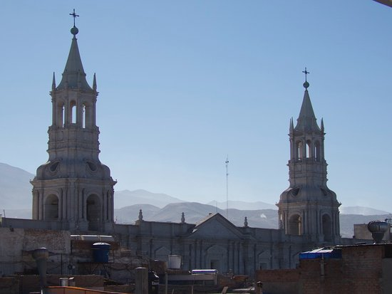 Los Tambos: View of the Cathedral from the Roof Deck