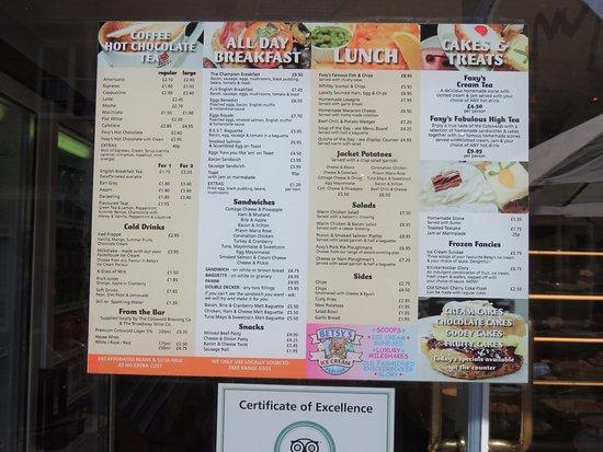 Foxy Browns: menu