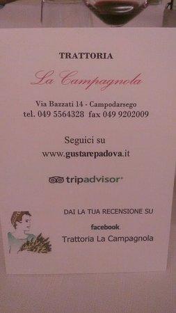 Камподарсего, Италия: Trattoria La Campagnola