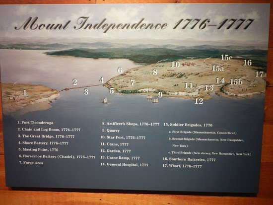 Orwell, Вермонт: Overview map of Mount Independence in 1776-1777
