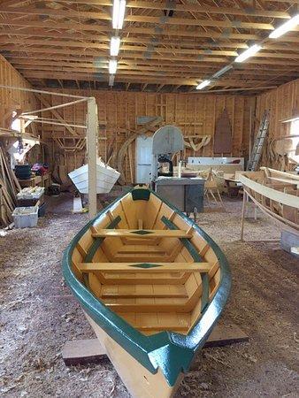 Apprentice Boat Builder Explaining The Boat Shed Wooden Boat Museum