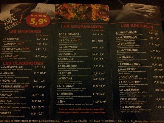 carte kiosque a pizza Carte du Kiosque   Picture of Le Kiosque a Pizzas La Teste, La