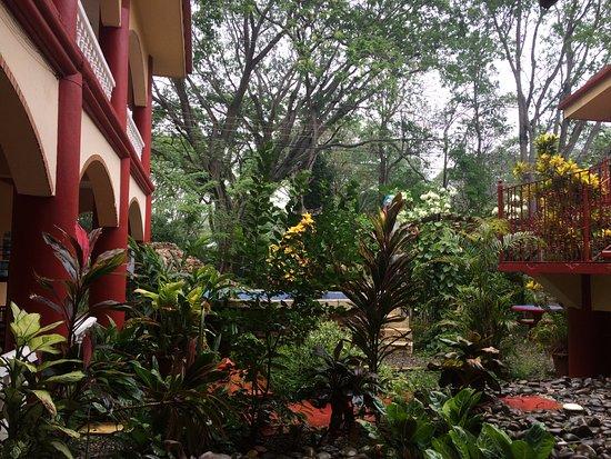 Hotel Domilocos: Jardim central / área de ducha e piscina