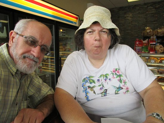 East Providence, RI: Louis and I at Taunton Avenue Bakery eating.