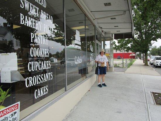 East Providence, RI: Debra standing in front of Taunton Avenue Bakery.