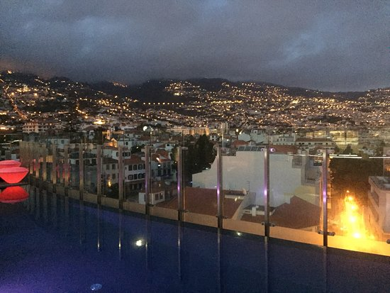The Vine Hotel: Evening view from the 360° rooftop bar.