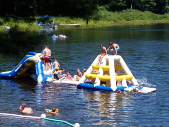 Mecosta, MI: Water Inflatables at Bluegill Lake