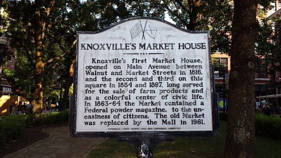Market Square: Sign with the history of the first market house built in 1816