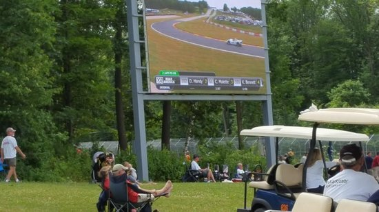 Elkhart Lake, WI: large screens to cover action all around the track