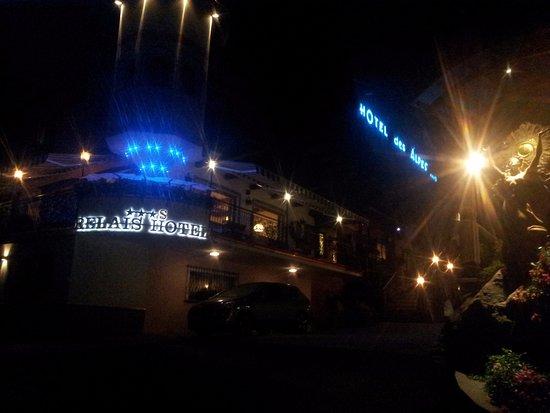 Relais Hotel Des Alpes: Vista dell albergo in notturna.