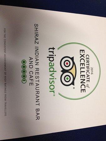 Shiraz Indian Restaurant walton street: Trip advisor excellence award