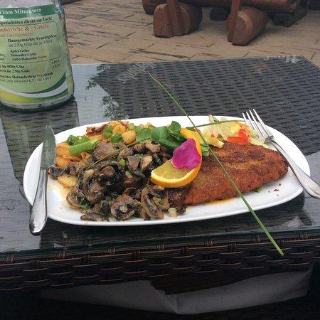 Mellenthin, Alemanha: Meine Portion Schnitzel mit Pilzen und Bratkartoffeln