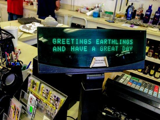 Amargosa Valley, NV : Screen seen on cash register when entering.