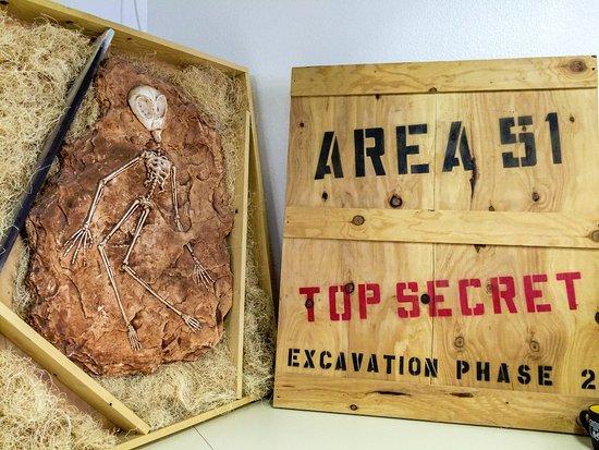 Amargosa Valley, NV: Alien artifact on display.