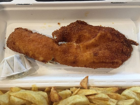 Land & Sea Fish & Chip Shop: Burnt fish