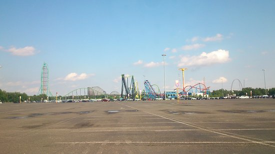 The Great Escape and Splashwater Kingdom: view from the car park on the way out, all of those coasters in one place