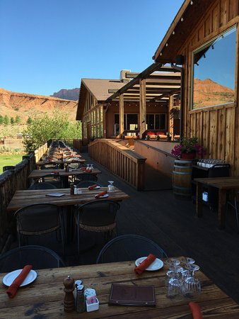 The outside dining area overlooking the Colorado River