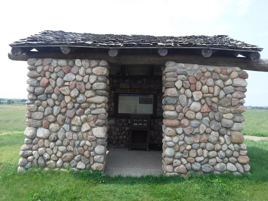 Stanton, ND: A CCC constructed kiosk offers information about the area.
