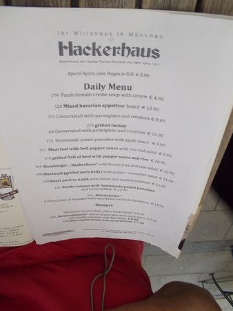 Altes Hackerhaus: The menu was available in English