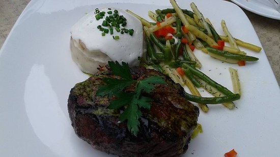 "Bigfork, MT: ""American Kobe"" 8oz Top Sirloin - Baseball Cut / Fresh Herb Salsa Verde / Truffle Mash Potato"