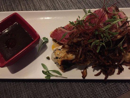 Littleton, MA: Tuna steak with sushi