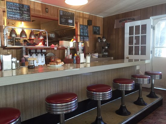 Park Cafe Front Counter With Vintage Stools And A View Into The Kitchen