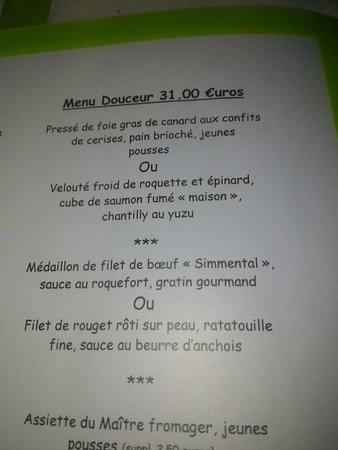La Bastidonne, France: Carte du Menu à 31€