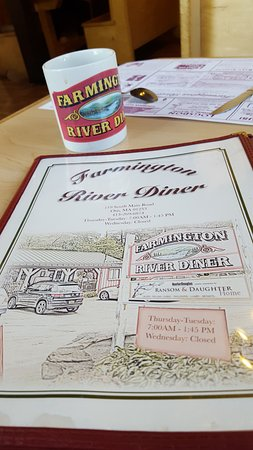Farmington River Diner: menu and mug