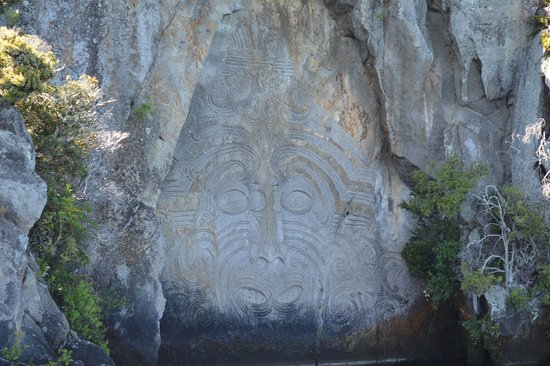 Maori rock carvings on lake taupo new zealand picture