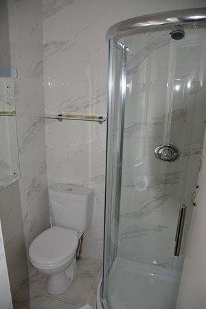 Dergvale Hotel: Doucje en toilet hotel Dergvale (kamer nr 18)
