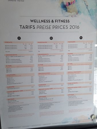 Domaine Thermal: Tarifs du Wellness & Fitness
