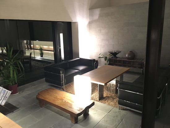 Lobby, bar, guest room and dinner menu