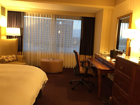 Indianapolis Marriott Downtown: Two-level desk, but an odd bureau with a locked center cupboard.