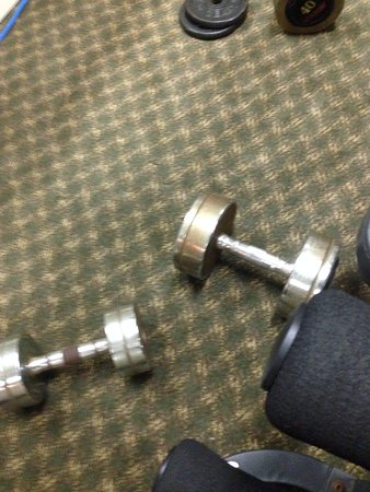 The Inn at Crestwood: Work out room, rusty equipment, dirty carpet, and broken equipment.