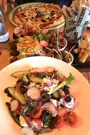 The Grainstore: Mediterranean pizza, vegetarian sharing platter, Greek salad