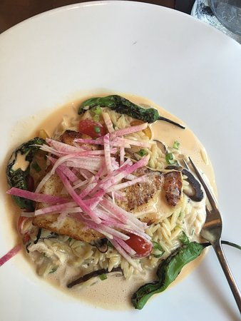 The Woodlands, TX: Excellent dinner entrees- Halibut & shrimp pasta